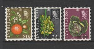 Montserrat 1969 Opts on Fruits change of Wmk, 3 top values, LMM SG 220/2