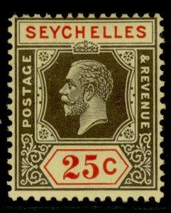 SEYCHELLES GV SG114, 25c black & red/pale yellow, M MINT.