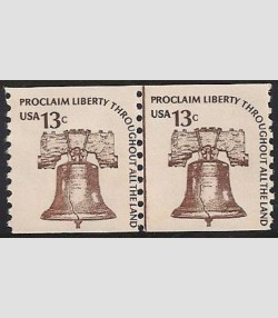 U.S.#1618 Liberty Bell 13c Line Pair Shiny Gum 13c, M-DG.  See note in descript.