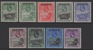 ASCENSION SG1/9 1922 DEFINITIVE SET MTD MINT