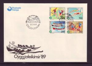 Faroe Islands Sc193-6 1989 Island Games stamps FDC