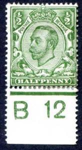 1/2d Green B12 Control mounted mint