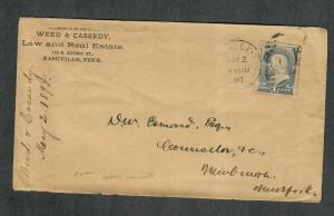US Sc#212 Nashville Tenn Adv Cover Weed & Cassedy Law And Real Estate