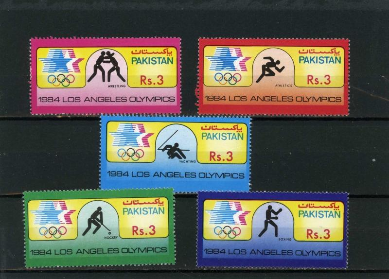 PAKISTAN 1984 Sc#626-630 SUMMER OLYMPIC GAMES LOS ANGELES SET OF 5 STAMPS MNH