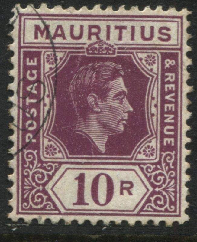 Mauritius 1938 KGVI  10 rupees on chalky paper CDS used