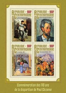 Central African Republic 2016 MNH Paul Cezanne 110th Memorial 4v M/S Art Stamps
