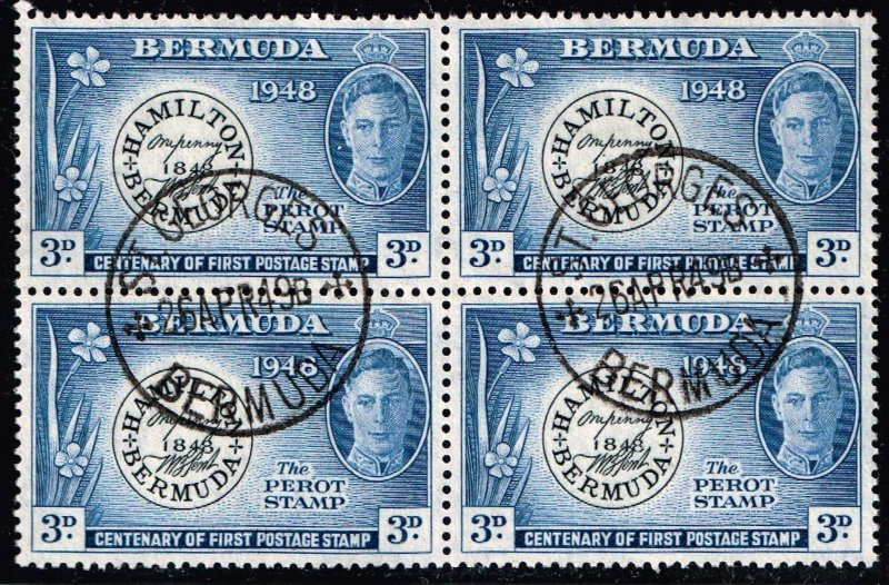 UK STAMP BERMUDA USED BLK OF 4 STAMPS  COLLECTION LOT #7 XFS SUPERB