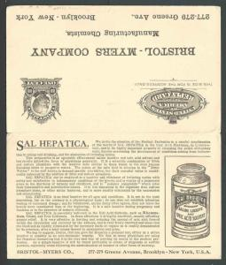 1909 Bklyn NY Bristol Myers Makes Sal Hepatica Laxative Famous Brand See Info