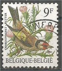 BELGIUM, 1985 used 9fr, Birds Scott 1228