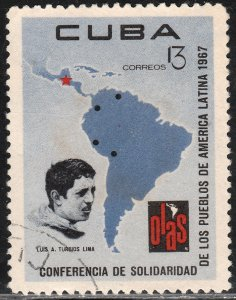 CUBA 1247, 13¢ MAP OF SOUTH AMERICA. USED. F-VF. (325)