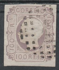 PORTUGAL 1862 KING EMBOSSED 100R USED