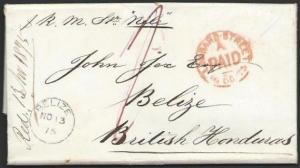 BR HONDURAS 1875 superb BELIZE arrival cds on folded letter ex London......56834