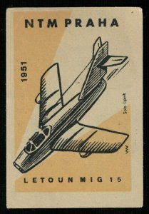 Letoun MIG 15 1951, NTM PRAHA, Matchbox Label Stamp (Т-8278)