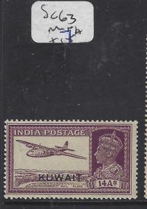 KUWAIT  (P2302B)  ON INDIA KGVI 14A AIRPLAND SG 63  MNH