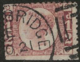 Great Britain Scott 58, Victoria 1/2p  1870 CV$17
