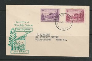 Norfolk Island FDC 1947 2d & 4d Illus, Typed address