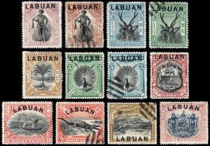 Labuan Scott 72, 72A, 73-80, 81a, 82 (1897-1900) M/Cancelled H VF, CV $170.80 B