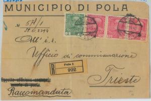 75079 - AUSTRIA Croatia - POSTAL HISTORY - REGISTERED COVER from POLA 1914