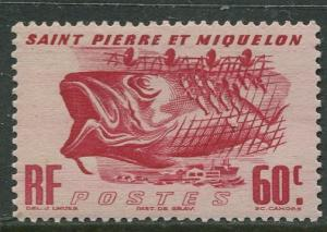St Pierre et Miquelon.-Scott 328 -Fishing Industry -1947 -MLH- Single 60c Stamp