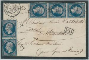 75184 - FRANCE - Postal History - 1 Franc  on COVER from ESPALION to ITALY 1857
