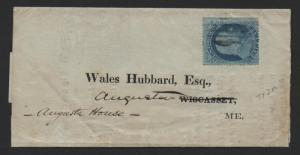 US Scott #20 Plate #12 on Drop Rate Cover Augusta House Maine