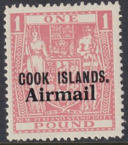 Sc# C9a Cook Islands 1966 £1 missing airplane issue surcharge MLH CV $37.50