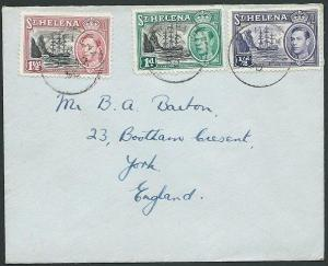 ST HELENA 1950 cover to UK - nice GVI franking.............................43882
