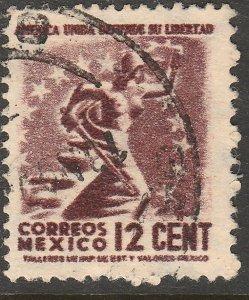 MEXICO 845, 12¢ 1934 Definitive Wmk Gobierno...279 Used. F-VF (927)