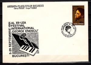 Romania, 1991 issue. 05/SEP/91. George Enescu, Musician Cancel on Cover.