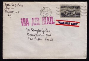 US Sc #C34 Via Airmail Postal History Covers 2 Ea New York to Sao Paulo Brazil