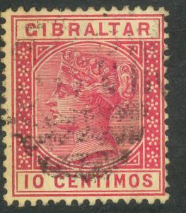 GIBRALTAR 1889-95 QV 10c Rose Portrait Issue Scott No. 30 VFU