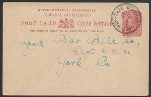 JAMAICA 1937 GV 1d postcard - HALF-WAY-TREE cds............................49103