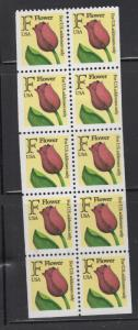 US 1991 Flower F Stamp  Booklet Pant of 10 Stamps Scott  2519a MNH