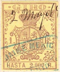 ESPAGNE / SPAIN / ESPAÑA 1861 Sello Fiscal (GIRO) 1 real - Usado (a)