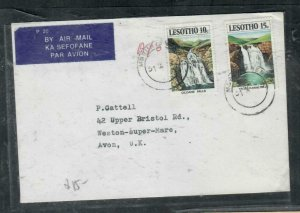 LESOTHO COVER (P3006B)  1978 WATERFALLS 10C PR ON A/M COVER TO ENGLAND