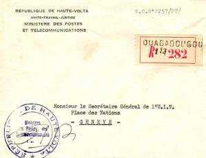 Upper Volta Official Free Mail c1964 [Ouagadougou] Registered to Geneva, Swit...