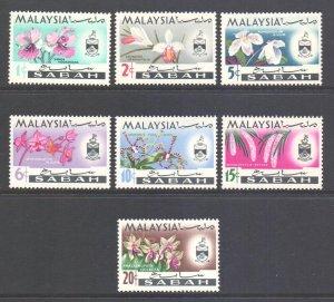 Malaya Sabah Scott 121/127 - SG424/430, 1965 Orchids Set MH*