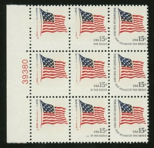 #1597b PLATE BLOCK OF 9, LEFT 3 STAMPS GREY OMITTED ERROR WL891