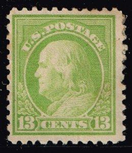 US STAMP #513 – 1919 13c Franklin, apple green MHR/OG