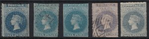 SA244) South Australia 1860-69 Second roulette issue 6d Blue range of five shade