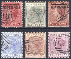 Montserrat 1883 1/2d-4d + PERF12 1d SG 6-12ex11 Scott 6-11ex9 VFU Cat £175($226)