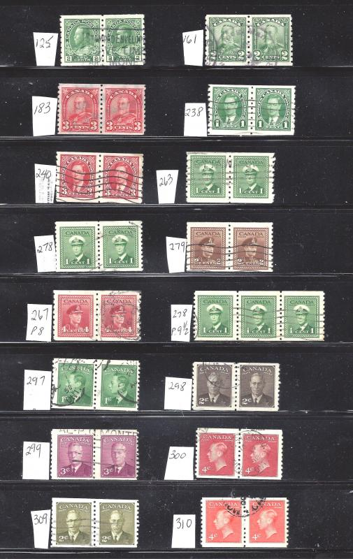 Canada SELECTION OF 1912-1951 USED COIL PAIRS (SEE PICTURE) CV $120 (BS10202)