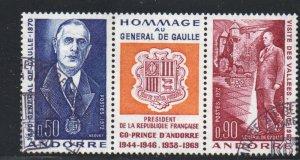 Andorra (Fr) Sc 218a 1972 De Gaulle stamp set  used