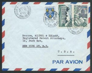 FRANCE 1955 Airmail cover to USA - nice franking...........................58119
