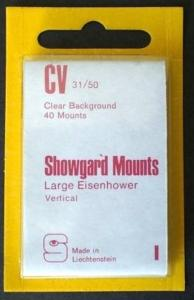 Showgard Stamp Mounts Size CV 31 / 50 CLEAR Background Pack of 40