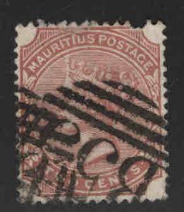 MAURITIUS Scott 69 Used Queen Victoria 1883 MH* CA wmk 2 short perf
