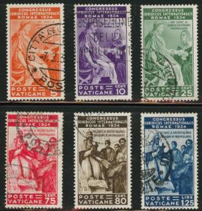 Vatican City Scott 41-46 Used 1935 set CV$199