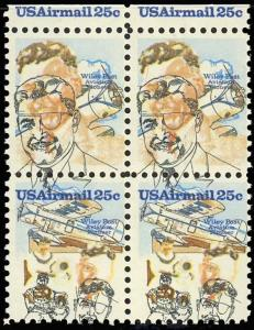C96a Vat BLOCK USA AIRMAIL 25c MISSING FROM TOP STAMPS