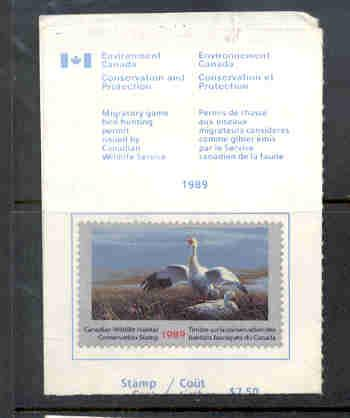 Canada 1989 Snow Geese stamp on license used