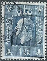 Norway 538 (used) 1.50k, King Olav V, dk blue (1970)
